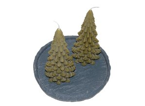Kerstboom Kaars Ancient Green - Christmas Tree Candle 20x10 cm
