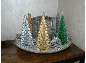 Handmade Kerstboom Kaars - Christmas Tree Candle Gold 20x10 cm