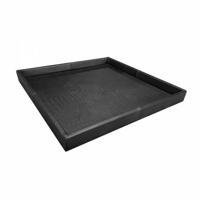 Exclusieve leren dienblad croco print black L80 B80 H6