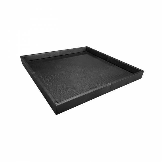 Exclusieve leren dienblad croco print black L60 B60 H6