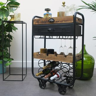 HEOO Industrial Vino bar Cart