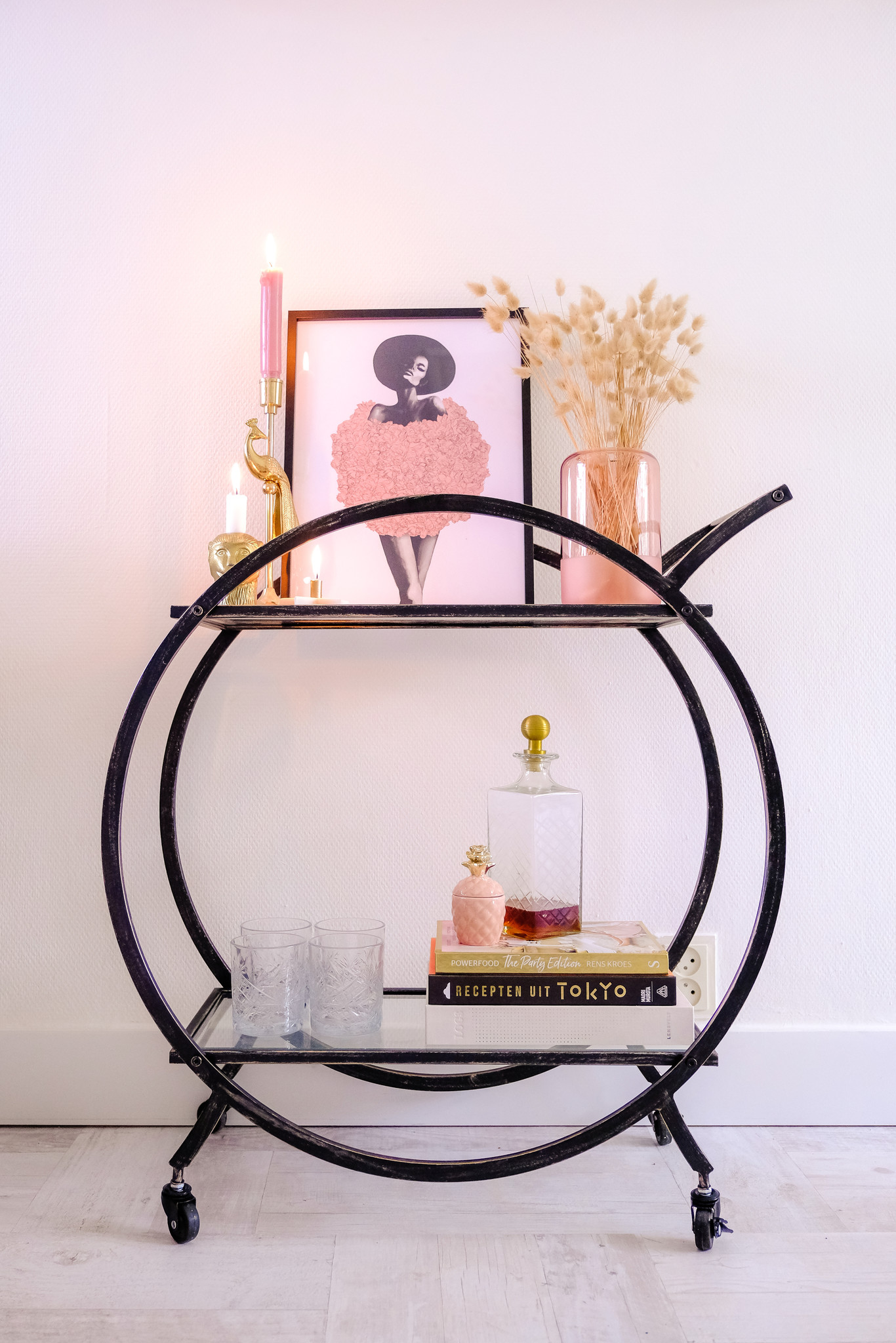 HEOO Cabinet Bar Cart Black