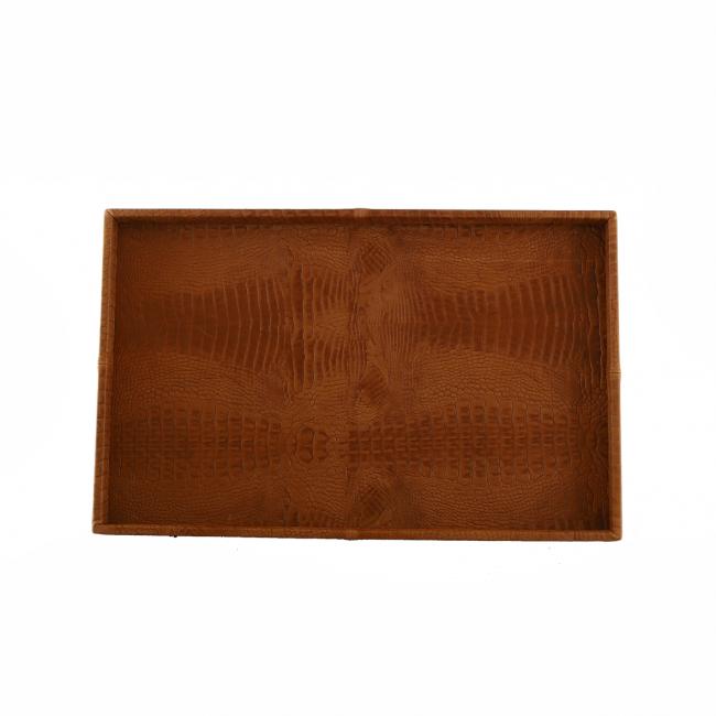 Exclusieve leren dienblad croco print cognac L50 B80 H6clu