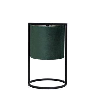 Tafellamp  Santos mat zwart+kap donker groen