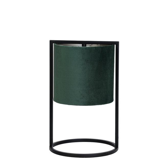 Light & Living Tafellamp  santos mat zwart velvet groen