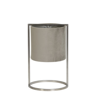 Tafellamp Santos nikkel+kap grijs-taupe
