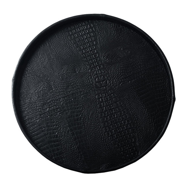 Pot & Vaas Leren dienblad croco rond