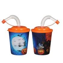 3D beker Halloween met oranje deksel 25st.