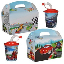 Menubox met 3D beker thema Car 100st.