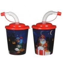 PRE-ORDER*25st. 3D beker Sinterklaas met rode deksel