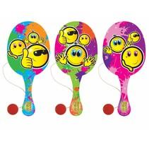 Houten racket met bal Smiley 24st.