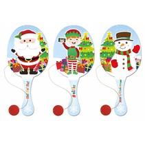 Houten racket met bal Kerst 24st.