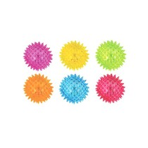 Stuiterbal spikes met licht 6.5cm 12st.