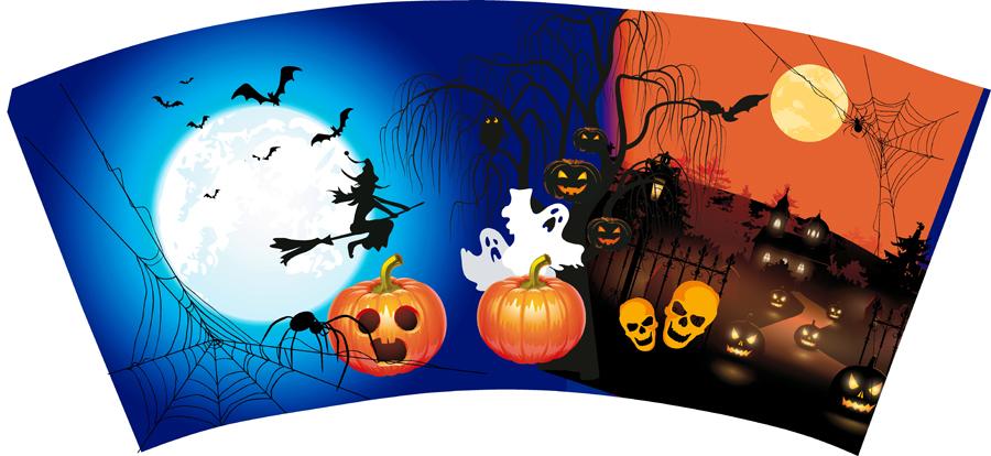 Halloween Gebruiken.3d Ijsbeker Halloween Zonder Deksel En Rietje 100st 0 39p St Bij Afname Van 500st 0 37p St
