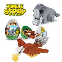 Bouwblokjes Jungle dieren in capsule 12st.