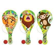 Houten racket met bal Jungledieren 24st.