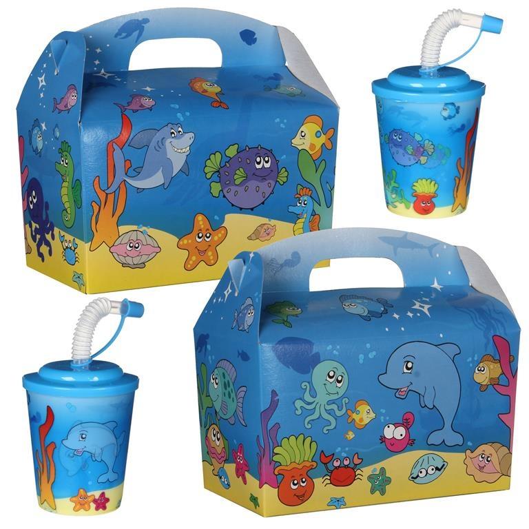 Kidsbox met 3D beker thema Vissen 100st. á €0,68 per set / bij afname van 300st. €0,61 per set