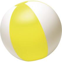 Opblaasbare strandbal streep geel 24cm 50st.