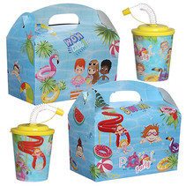 Menubox met 3D beker thema Poolparty 100st.