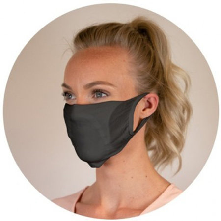 Mondmasker wasbaar met ruimte voor filter zwart 20st.