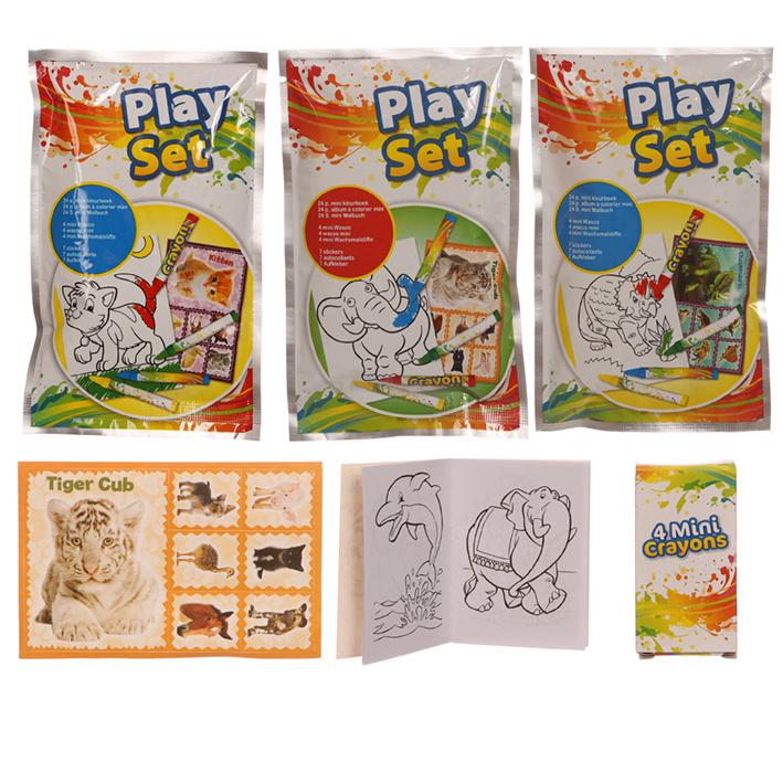 Dieren kleurboekje 24 pagina's,wascokrijtjes en stickervel in verrassingszakje 100st.