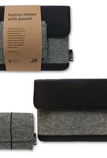 Laptop Sleeve PU Leather and Felt Laptop Sleeve with Pouch