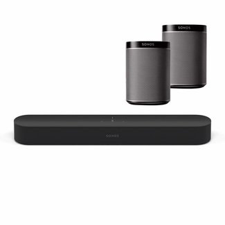 Sonos Beam Soundbar + 2x Sonos Play:1 Speaker Bundle
