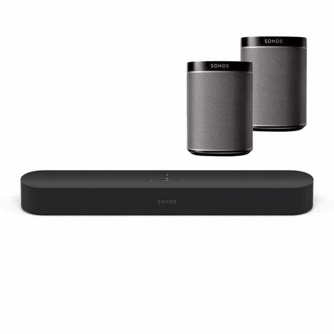 Sonos Beam Soundbar + 2x Play 1 Speaker Bundle