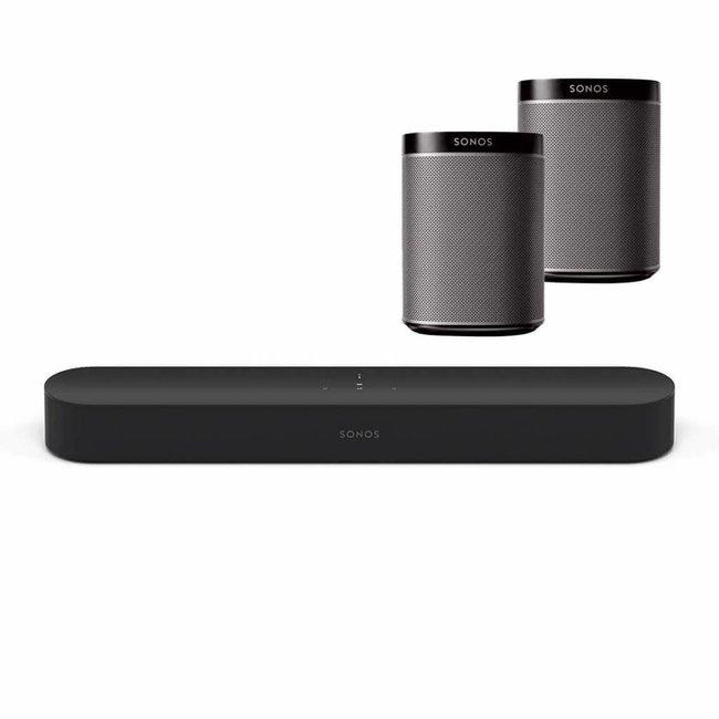 Sonos Beam Soundbar + 2x Sonos Play:1 Speaker Bundle