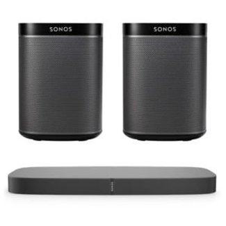 Sonos Playbase Soundbase + 2x Sonos Play:1 Speaker Bundle