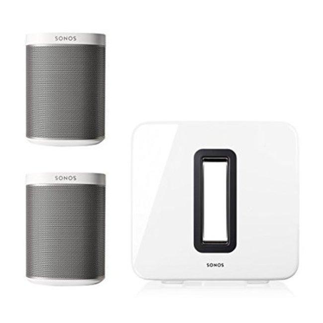 Fabriksnye Sonos 2x PLAY:1 Wi-Fi Smart Speaker & Sonos SUB (Gen:2) Package LY-81