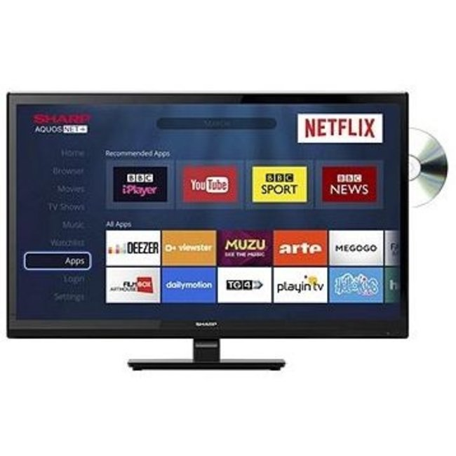 """SHARP LC24DHG6001K 24"""" Inch Smart LED/DVD Combi TV"""