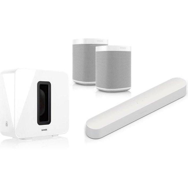 Sonos Beam + Sub (Gen:2) + 2x One (G2) 5.1 Speaker Bundle