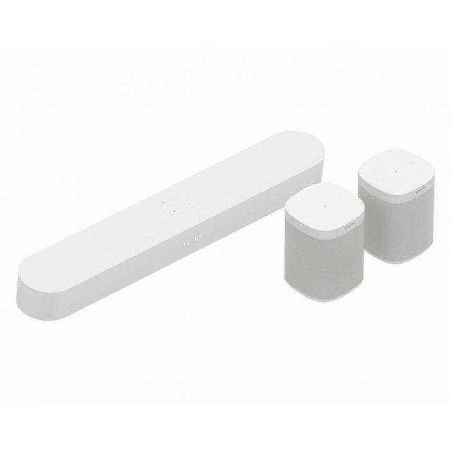 Sonos Beam  (Gen:1) Compact Soundbar + 2x Sonos One SL Speaker Bundle