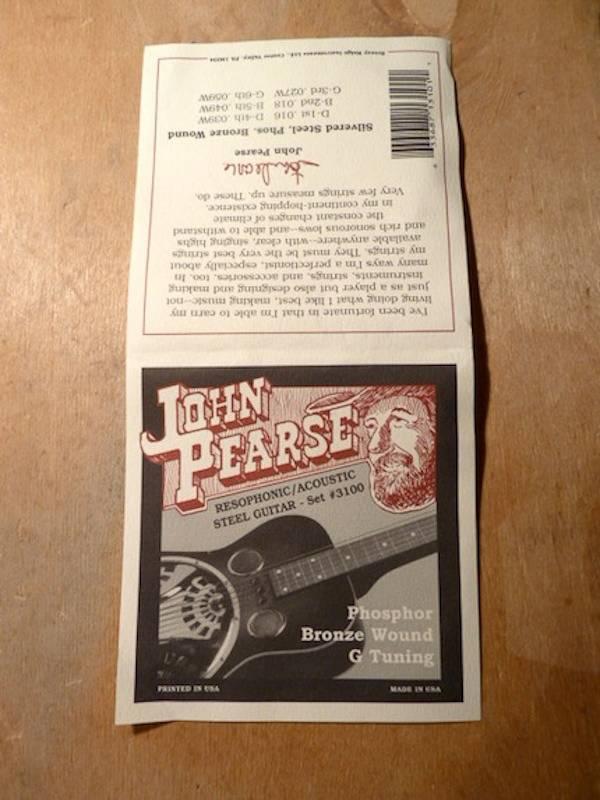 John Pearse John Pearse 3100 Phosphor Bronze Resophonic/Acoustic G Tuning