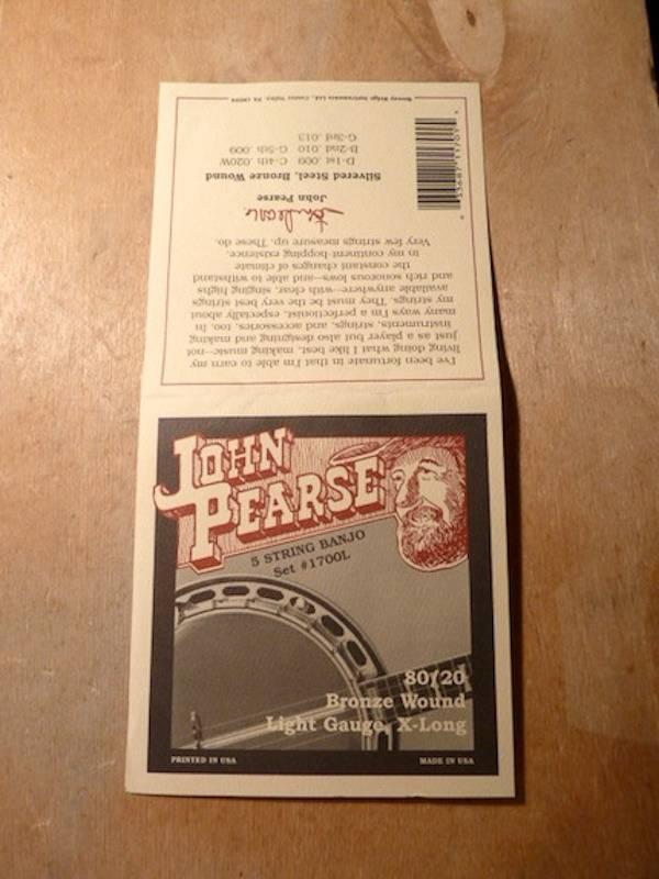John Pearse John Pearse 1700L 5 String Banjo 80/20 Bronze Light Gauge, X-long