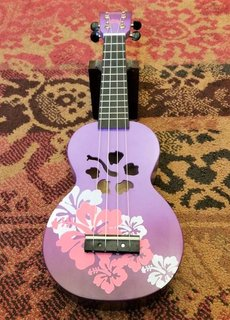Mahalo Mahalo Soprano Ukulele Flowers Purple Burst