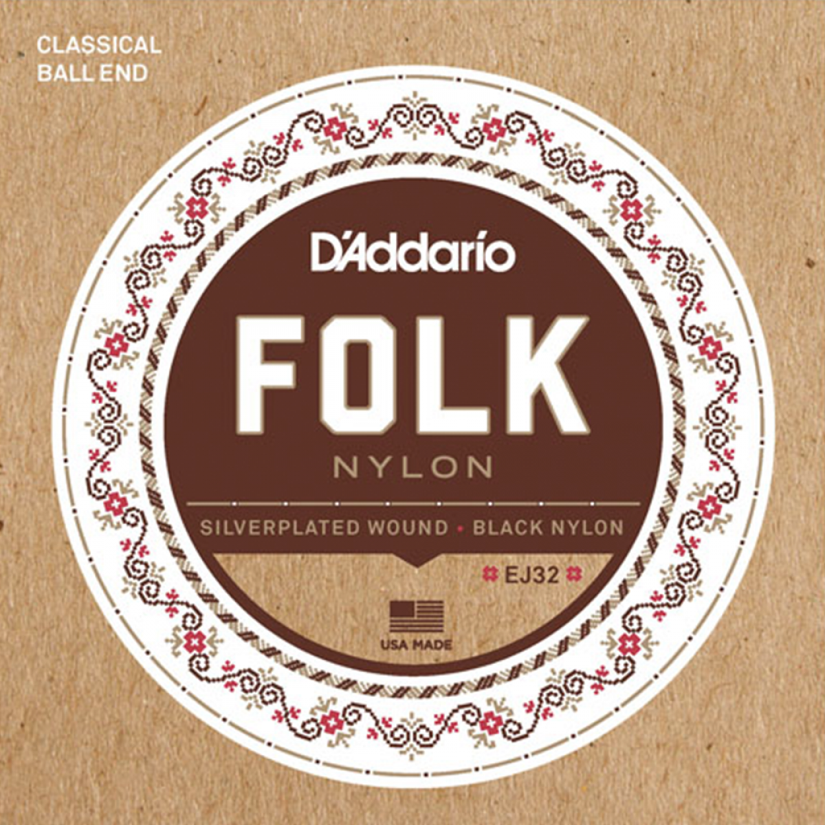 D'Addario D'addario EJ32 Folk Silverplated Wound Black Nylon Ball End