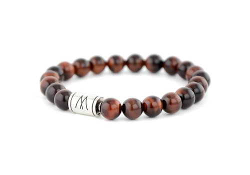 Minimal Red Bracelet - Silver Red Tiger Eye