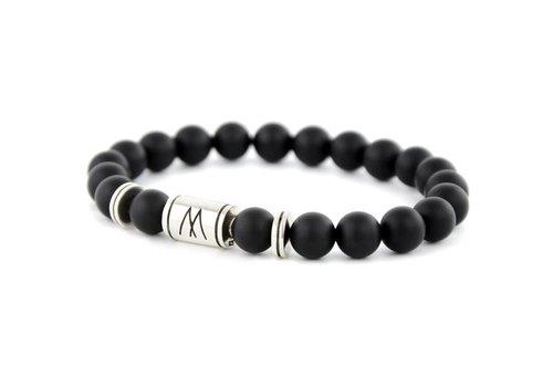 Minimal Black Bracelet - Twin Silver Black Onyx
