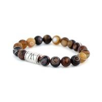 Brown Bracelet - Silver Striped Agate