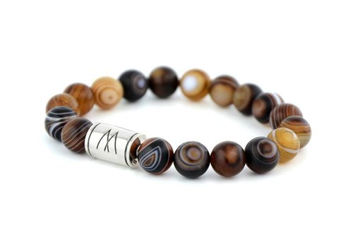 Prestige Brown Bracelet - Silver Striped Agate