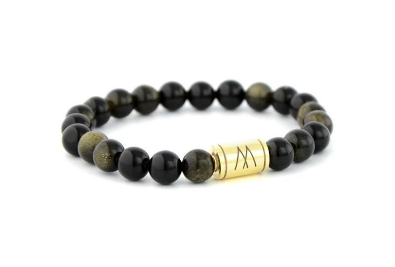 Black Bracelet - Gold Black Sheen Obsidian