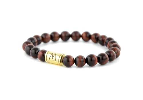 Minimal Red Bracelet - Gold Red Tiger Eye