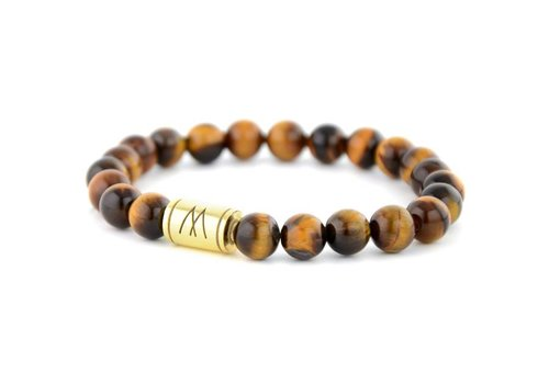 Minimal Brown Bracelet - Gold Brown Tiger Eye