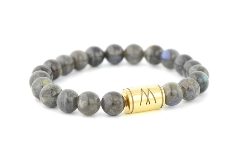 Grey Bracelet - Gold Labradorite