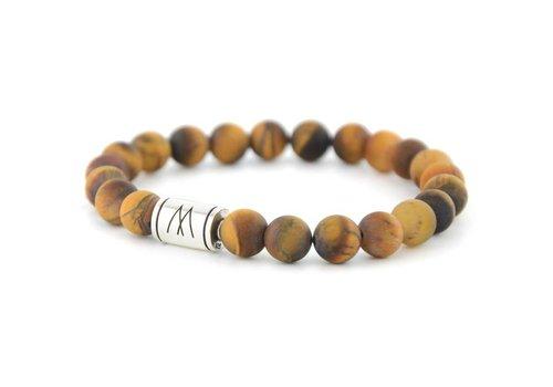Minimal Brown Bracelet - Silver Brown Tiger Eye Matt