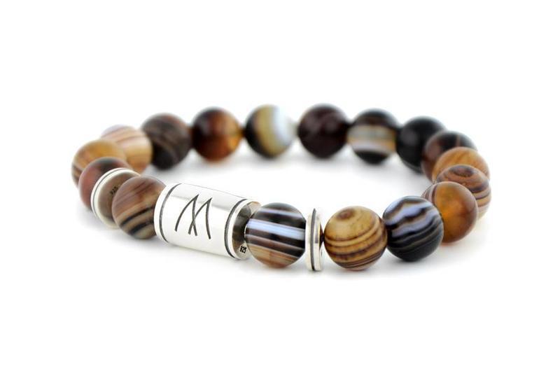 Brown Bracelet - Twin Silver Striped Agate