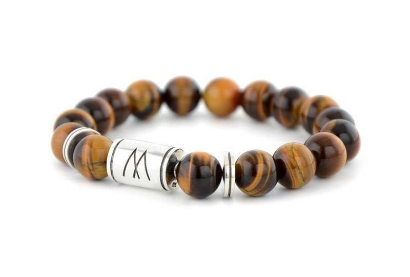 Brown Bracelet - Twin Silver Brown Tiger Eye