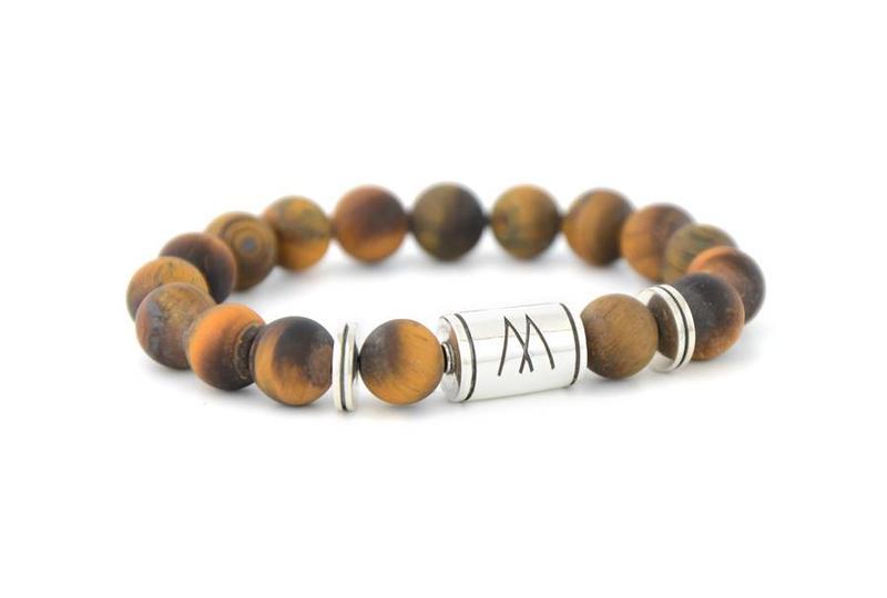 Brown Bracelet - Twin Silver Brown Tiger Eye Matt